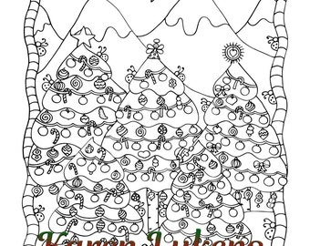 Christmas Tree Happiness, 1 Adult Coloring Book Pages, Printable Instant Download, Halloween, Witch, Karen Lukens