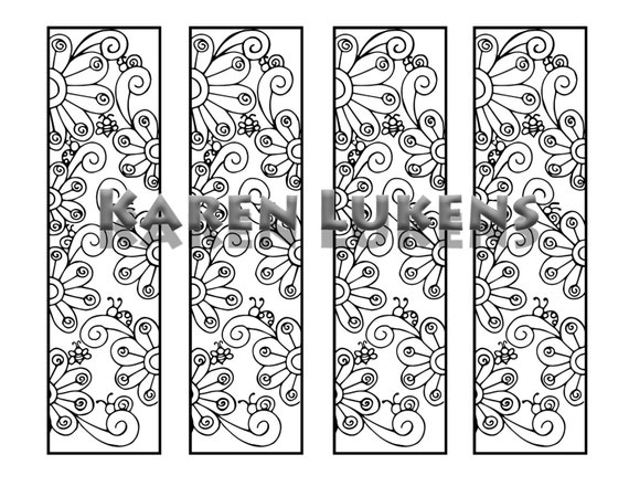 Happy Flowers Bookmarks 1 Adult Coloring Book Page Printable