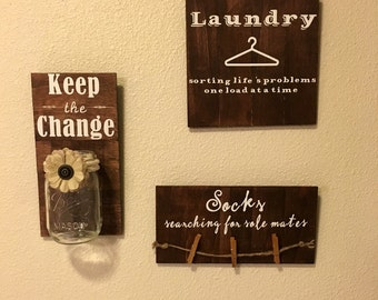 3 piece rustic laundry room wall decor, socks searching for sole mates, keep the change, laundry sorting lifes problems one load at a time.