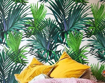 Tropical wallpaper, Palm leaves wall decor, Leaf wallpaper, Temporary wallpaper, BW013