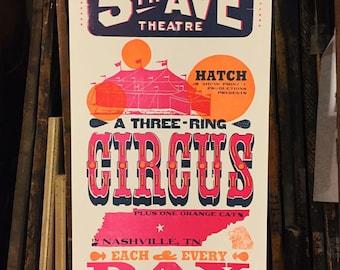 5th Avenue Circus Letterpress Poster