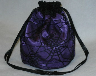 Purple Satin & Black Gothic Spider Web Lace Dolly Bag Evening Handbag / Purse Prom Halloween Costume