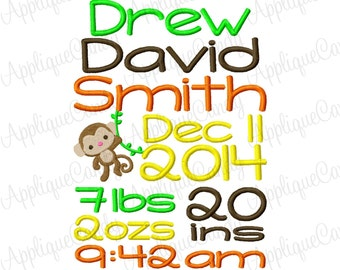 Custom Personalized Digitized Monkey Subway Art Birth Announcement Embroidery Design 5x7 6x10 7x12 Jungle (NOT Instant Download)