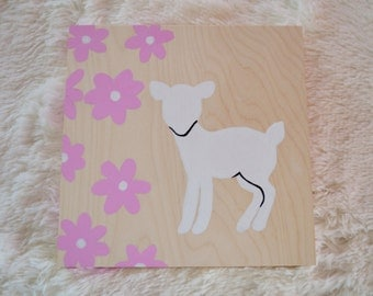 Deer for the room of a little girl, figure, flowers, baby girl, acrylic on wood.