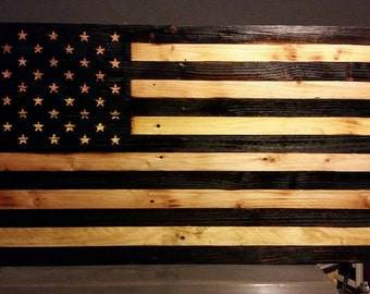 Rustic wood burnt American Flag with stars engraved
