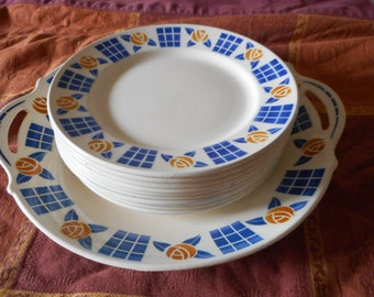 serving cake sarreguemine and plates vintage french faience dish