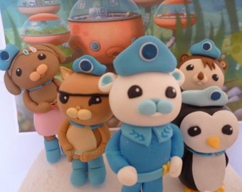 3D Octonauts Gumpaste characters Cake Topper Cake Decoration x 3 kwazii, captain barnacles peso