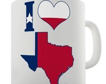 I Love Texas Ceramic Funny Mug