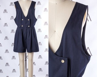 1940s Navy Blue Nautical Pleated Sleeveless Romper