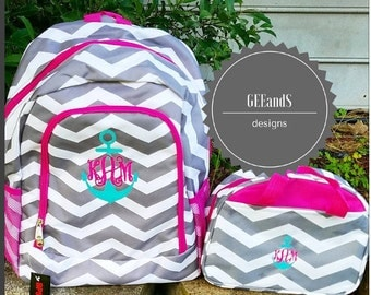 Monogrammed backpack and lunch bag-Pink and Grey Chevron with anchor monogram