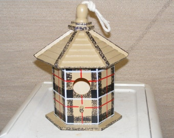 Adorable Scottish Tartan Beige Birdhouse