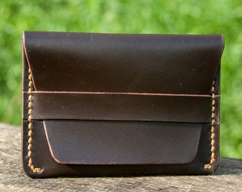 Leather minimal wallet, cartholder, handmade