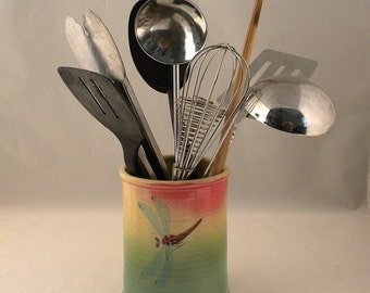 Ceramic Utensil Holder, Stoneware utensil holder. Dragonfly utensil holder, Porcelain utensil holder, Utensil holder