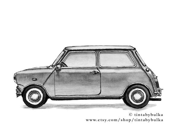 MINI COOPER Painting Automotive Fine Art Retro Car By