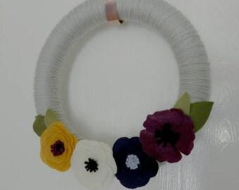 """Felt Flower Wreath, Fall Gray, Yarn Wrapped, 14"""""""