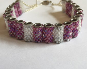 Pink & Clear Crystal Handwoven Tube Cuff