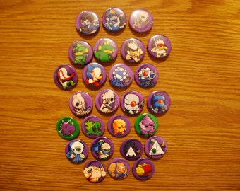Set of 26 Nuclear Throne Character B Skin Buttons/Pins/Badges