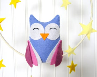 Felt Owl Mobile in pink and blue with stars