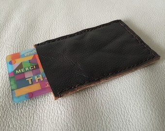 Minimalist handstitched leather cardholder