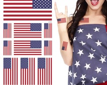Supperb® American Flag Temporary Tattoo Kit, USA Flag Temporary Tattoos, 10 Tattoos