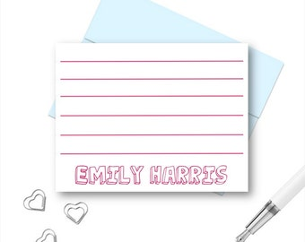 Kids Personalized Stationery, Personalized Note Cards, Personalized Thank You Note Cards, Personalized Stationary for kids, Lined Note Cards