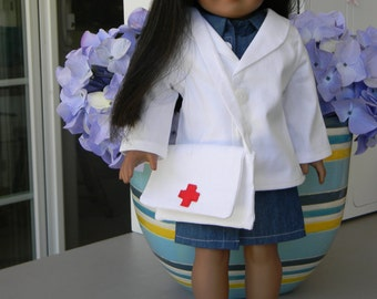 American Girl Doll Doctor Coat and Bag