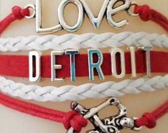 Love Detroit Hockey Player Layered Charm Bracelet - PRICE REDUCED!