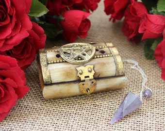 Amethyst Pendulum with Pentacle Chest