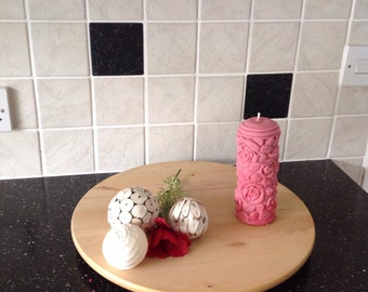 Rose patterned pillar candle