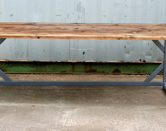 Industrial chic reclaimed wood table - 200cm length