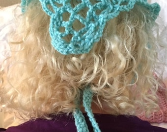 Crocheted Kerchief. Crocheted Bandanna. Crocheted Head Scarf. Aqua. One of a kind