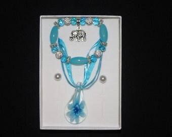 Blue Elephant Bracelet Jewelry Set