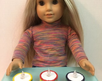 Light up Birthday Cake - Made for 18 inch American Girl Doll Kitchen Food Accessories -Dessert / pastry shop
