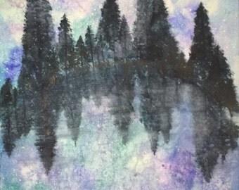 Galaxy Night Watercolor Painting