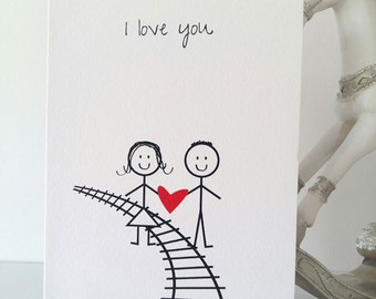 Love Greeting Card, Wedding, Birthday, Boyfriend to girlfriend, Girlfriend to boyfriend, Valentines, I love you, Stickmen, Handmade