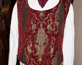 Brocade Burgundy and Gold Nobility Vest and Renaissance Shirt, Mens Size 2XL, Henry the Eighth, King Costume , Ship Captain, Pirate