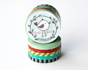 Thin Washi Tape Set - 5 rolls of skinny washi tape, 5mm x 10m, mixed patterns, black and white striped, aqua, red, green