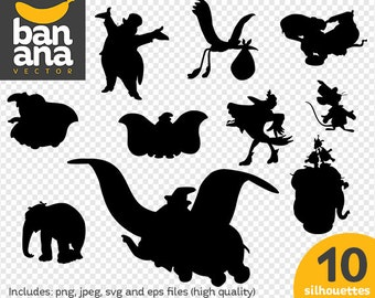 SALE Dumbo Silhouettes png jpg svg eps files high resolution BV-FA-0019
