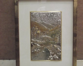 Silver relief landscape painting (925milth), hand painted