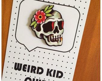 Skull tattoo art lapel pin