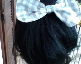 White and grey hair bow