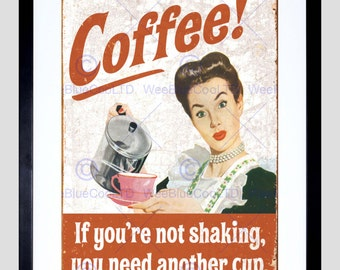 Advert Mock Coffee Caffiene Shaking Stressed Art Poster Print FECC6606