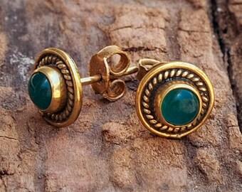 Jade Stud Earrings // Turquoise Ear Studs // Gemstone Earrings // Post Earrings // Brass Ear Stud // Minimal Earrings // Everyday Earrings