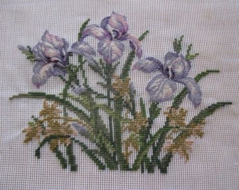 "Vintage pre-worked needlepoint. 18""x18"" Iris, main colors – yellows, purples, greens."
