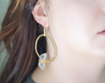 Crystal Quartz Hoop Earring (Medium)