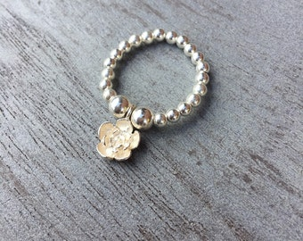 Simmi Sterling Silver Flower Charm Ring