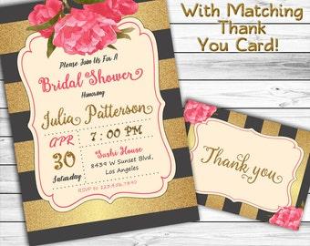 Black and Gold Bridal Shower Invitation, Floral Bridal Shower Invitation, Peony, Gold Glitter Bridal Shower Invitation, Printable, Watecolor
