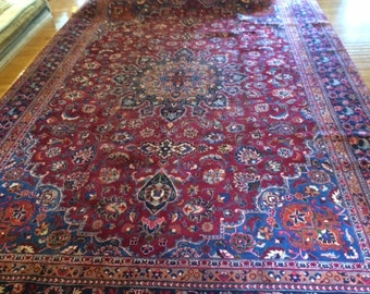 Persian rug hand knotted 9.3 x 13.1 washed clean SIGNED