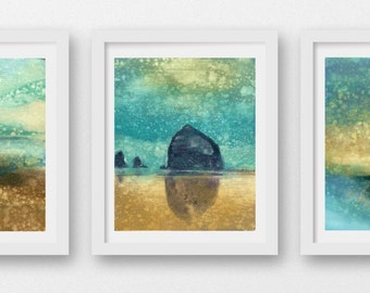 SET of THREE Oregon Coast Rain prints, limited edition fine art prints, Cannon Beach, Haystack Rock, coastal art