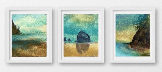 SET of THREE Oregon Coast Rain prints, limited edition, giclee prints, Cannon Beach, coastal art, print set